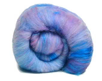 Carded Spinning Batt, Spinning Fiber, Merino, Faux Cashmere, Bamboo, Angelina and more - Cotton Candy - 4 oz.