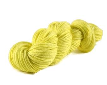 Worsted Yarn, Superwash Merino yarn, hand dyed, worsted weight yarn, wool yarn, 100% Superwash Merino, yellow, worsted merino - Lemon