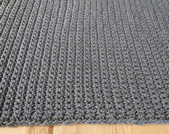 Handmade-to-order Crochet Square or Rectangle Cotton Rug / Any size of your choice / 33 Yarn Colors / Pricing per every 4000 cm2