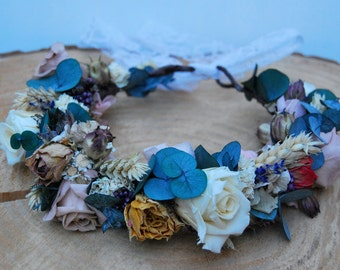 Flower crown with preserved and dried flowers, Wedding flower crown, Bride crown, Boho flower crown, natural flower crown, Rose crown