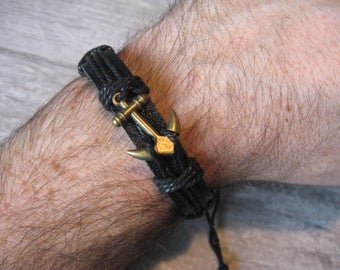 Mens Anchor Leather Wrap Bracelet FITS ALL SIZES Men Tribal Rock Punk Surfer Cuff Bracelet Jewelry Jewellery Gift for Him