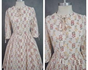 1950s Vintage Dress | Vintage Floral Dress | Multicolour Day Dress | 1950s Day Dress | Vintage Cotton Dress | 3/4 Length Sleeve Dress