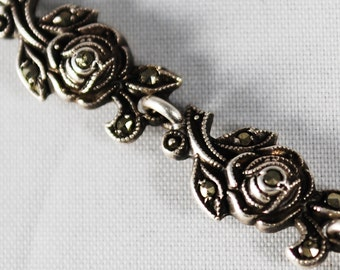 Vintage .935 Sterling Rose Marcasite Bracelet
