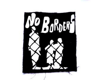 No Borders Logo,Political Patch, Antifascist Patch, Punk Rock Patch, Anarchist Patch, Logo Design, Hippie Patch, Hipster Clothing, DIY Patch