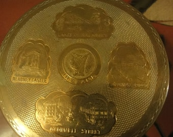 Irish brass musical compact with mirror and irish symbals most unusual