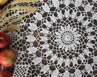 Crochet doilies, White crochet doily, Vintage doily, Home decor, Crocheted lace doily, Rustic decor, Eco decor