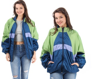 RETRO Bomber Track Jacket 80s Green Navy Blue Color Block Raglan Sleeves Jumper Men Women Athletic Sports Relaxed Fit Large XL