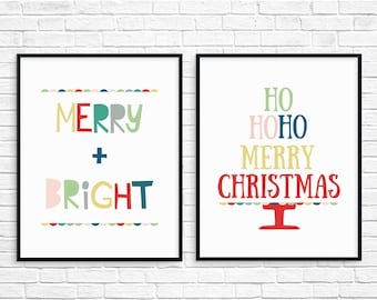 Christmas Printable Art Set, Colorful Christmas Decor, Merry and Bright,  Instant Download Christmas Prints, Ho Ho Ho Merry Christmas