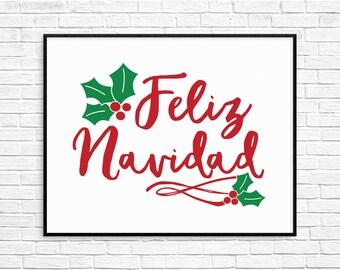 Feliz Navidad Christmas Printable Sign, Instant Download Christmas Wall Art, Printable Holiday Decor,  Bright Holiday Print