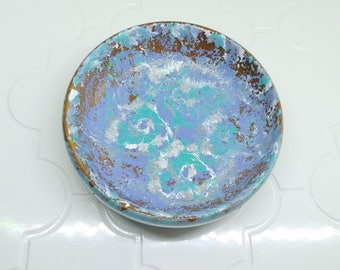 Turquoise, white and purple decorative wooden bowl with splatter effects, decorative dish, jewelry dish, jewelry storage, hand painted