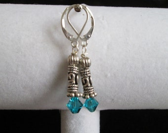 Bali Style Sterling Silver and Dark Aqua Crystal Earrings