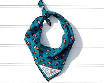 SALE Teal Tribal Small Dog Bandana // Scarf // Neckerchief // Neck Tie
