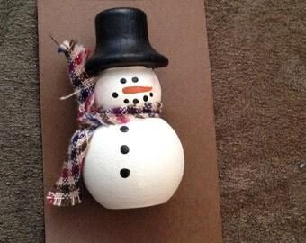 Wooden Snowman Pin