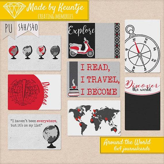 Around The World Journal cards