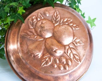 Copper cookware, Copper jelly mold, Swedish copper mould, Copper pudding mold, Copper kitchen decor, wall hanging mold, copper kitchenware