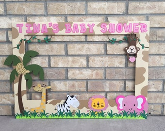 Baby Shower Photo Booth Prop // Safari // Jungle // Pink Glitter /