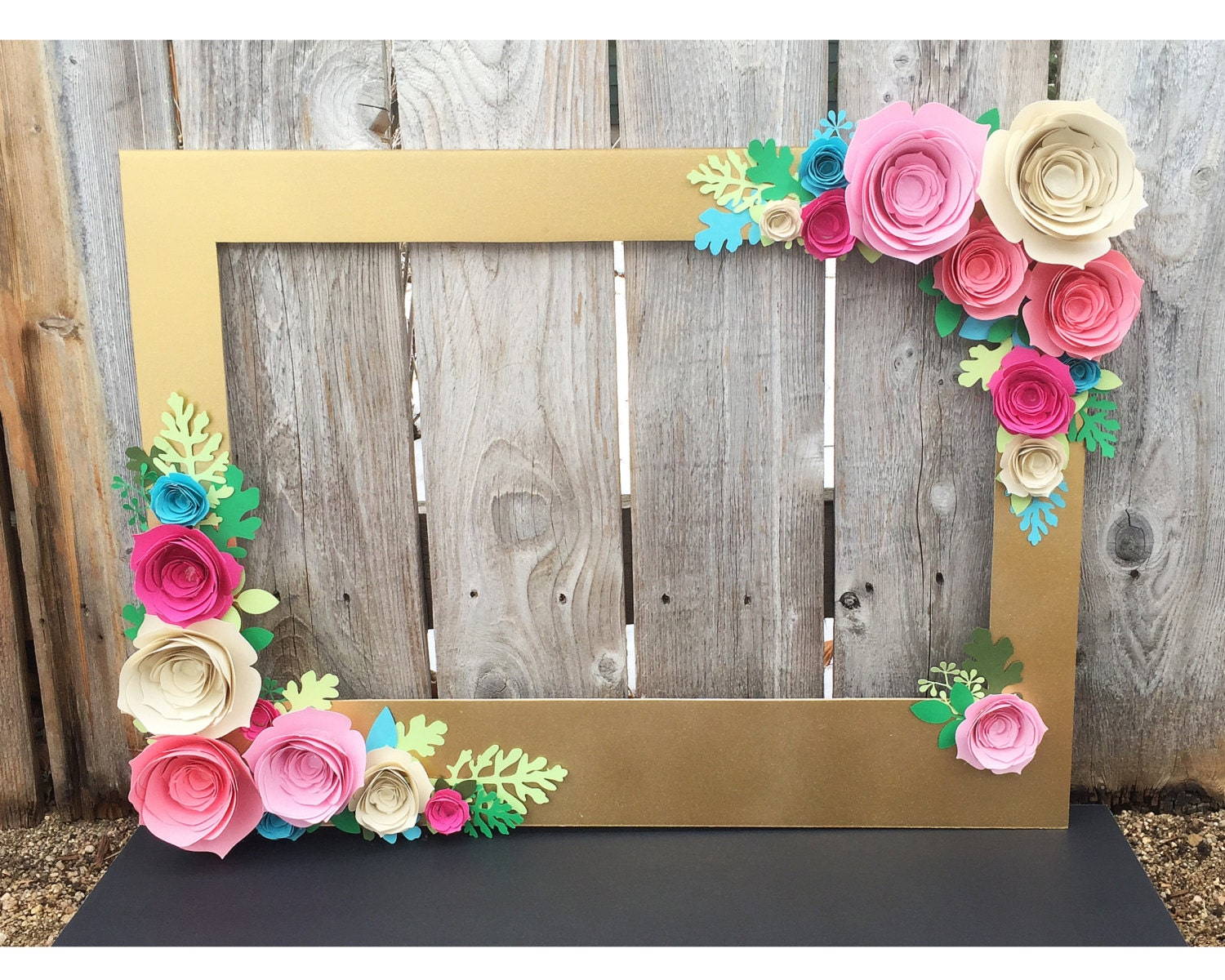 Gold Floral Frame booth prop with 3D flowers perfect