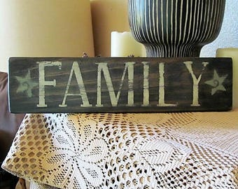 "Rustic Wood Sign says:""FAMILY"", Distressed and rugged looking, Pallet wood. Makes a great gift!"