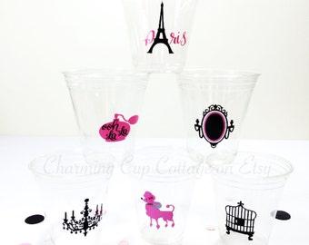 Paris Party Cups/Paris Party Theme/Paris Bridal Shower/Party Cups/Paris Party Decorations/Paris Baby Shower/Paris Birthday/Paris Theme Party