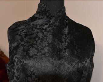 Exquisite Black Long Dress Asian Print