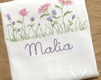 Flower Shirt / Wildflower Shirt / Flower Embroidery Shirt / Girl's Flower Shirt / Spring Applique Shirt / Toddler Flower Shirt / Wildflower