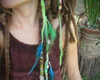 Green felted dreadlocks, woolen clip in dreads, hair extensions