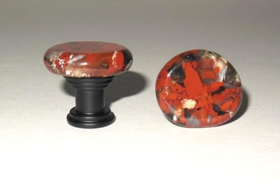 Brecciated Jasper Stone Cabinet Knobs Small Gemstone