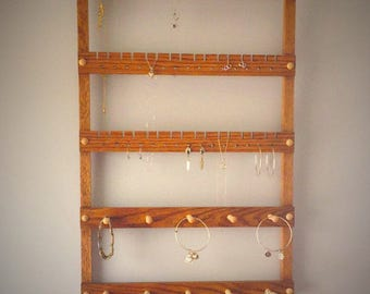 Wall Mounted Oak Jewelry Holder