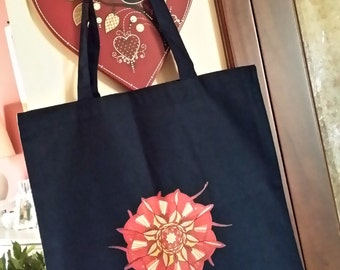 BR2016A7 - Red Flower Cotton Shopping Bag