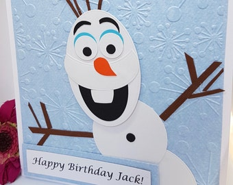 Personalised Frozen Olaf Character Birthday Card Handmade Snow Snowman Ice Kids BD55