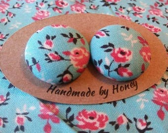Spring Bloom/Fabric Button Covered Earrings/Nickel Free