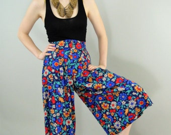 Vintage 70s High Waisted Floral Split Skirt (Laurissa) small