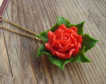 Red rose necklace, cold porcelain flower, floral jewelry, flowers and leaves, clay pendant, small necklace