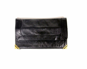 Vintage black ladies wallet with gold-coloured details-Fair