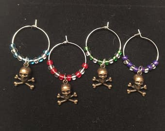 Skull wine charms, wine charms, beaded wine charms
