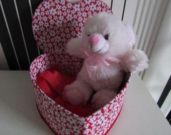 Heart box with pink teddy bear