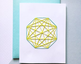 Modern Geometry Card, Hand Embroidered, A2