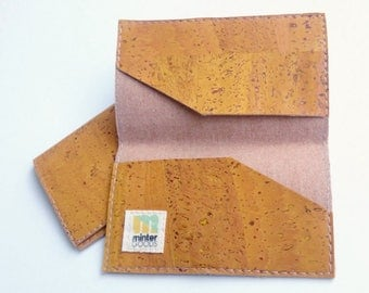 Cork business card case, mustard yellow cork fabric