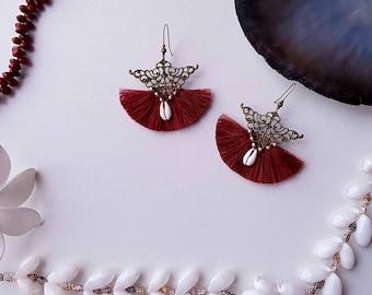 Earrings bronze filigree, marsala color tassels, and shells, Bohemian, ethnic earrings
