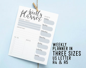 Weekly Printable Planner, Instant Download Insert, Productivity Desk Planner, DIY Planner, Weekly Organizer Agenda, To Do List, Weekly Goals