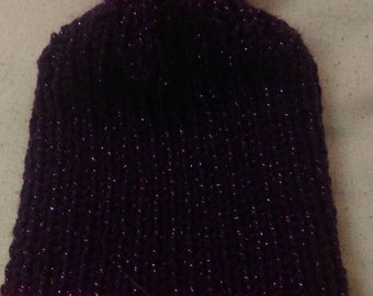 Pink and purple sparkly bobble hat