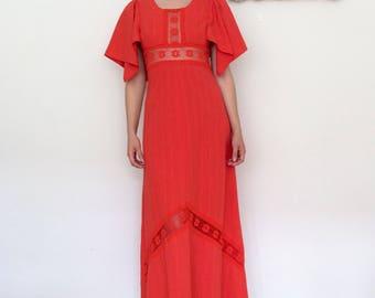 1970's boho lace maxi dress