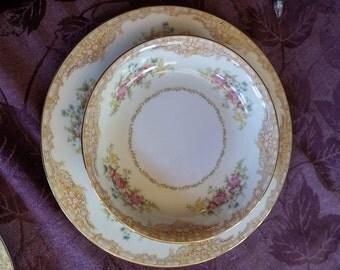 Vintage Noritake M  98846 China Dinner Plate & Salad/Soup bowl