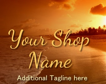 Golden Sunset Banner, Ocean Banner Set, Shop Banner Set, Graphic Design, Cover Photo, Custom Banner, Premade Banner, Banner Design,