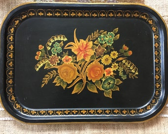 Vintage Serving Tray / Handpainted and Signed