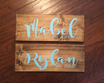 Personalized Child's Name Sign with Birth Year