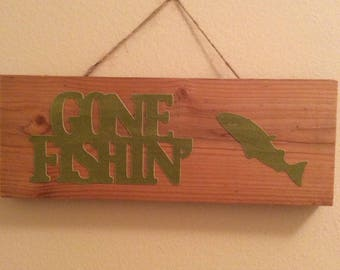 Gone Fishin' Rustic Sign