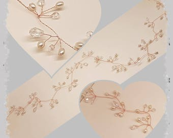 Rose gold /copper hair vine / pearl and crystal hair vine/ wedding hair vine / long hair vine / prom hair vine / pretty hair jewellery /