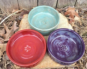 Pet Bowl Small - color choice - stoneware, paw print, pottery, ceramic dog bowl, cat dish