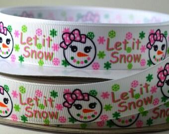 "7/8"" Snow -  Let it Snow - Girly Snowman Face - Printed Grosgrain Ribbon"